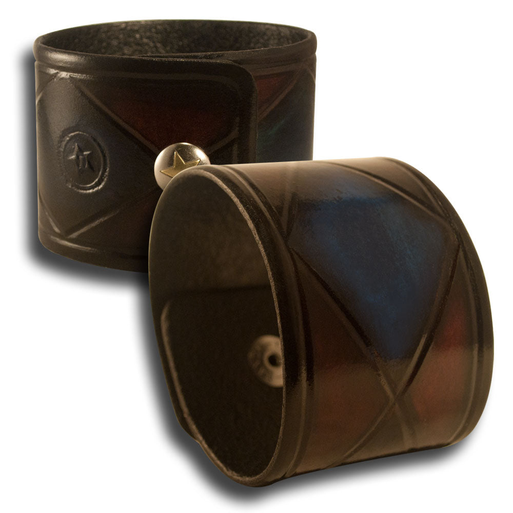 Mahogany & Blue Stressed Leather Cuff Wristband with Snap-Leather Cuffs & Wristbands-Rockstar Leatherworks™