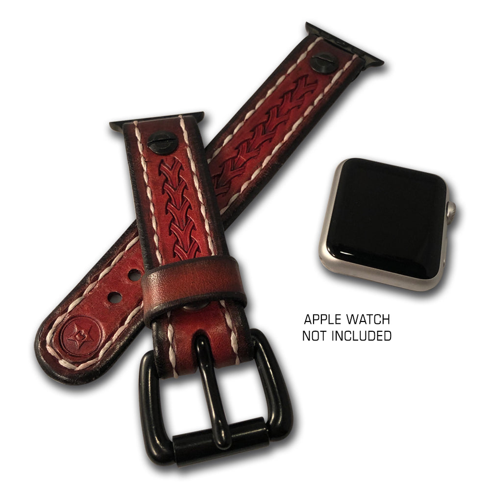 Crimson Stressed Apple iWatch Straps with Black Hardware-Custom Handmade Leather Watch Bands-Rockstar Leatherworks™