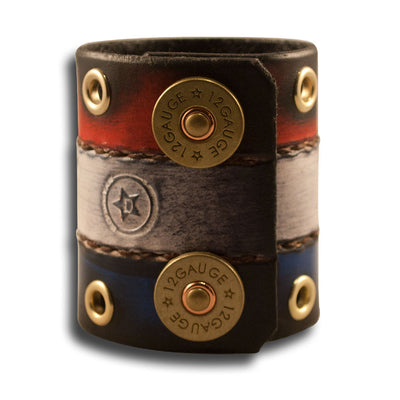 Red, White & Blue Leather Cuff with Shotgun Shell Snaps & Eyelets