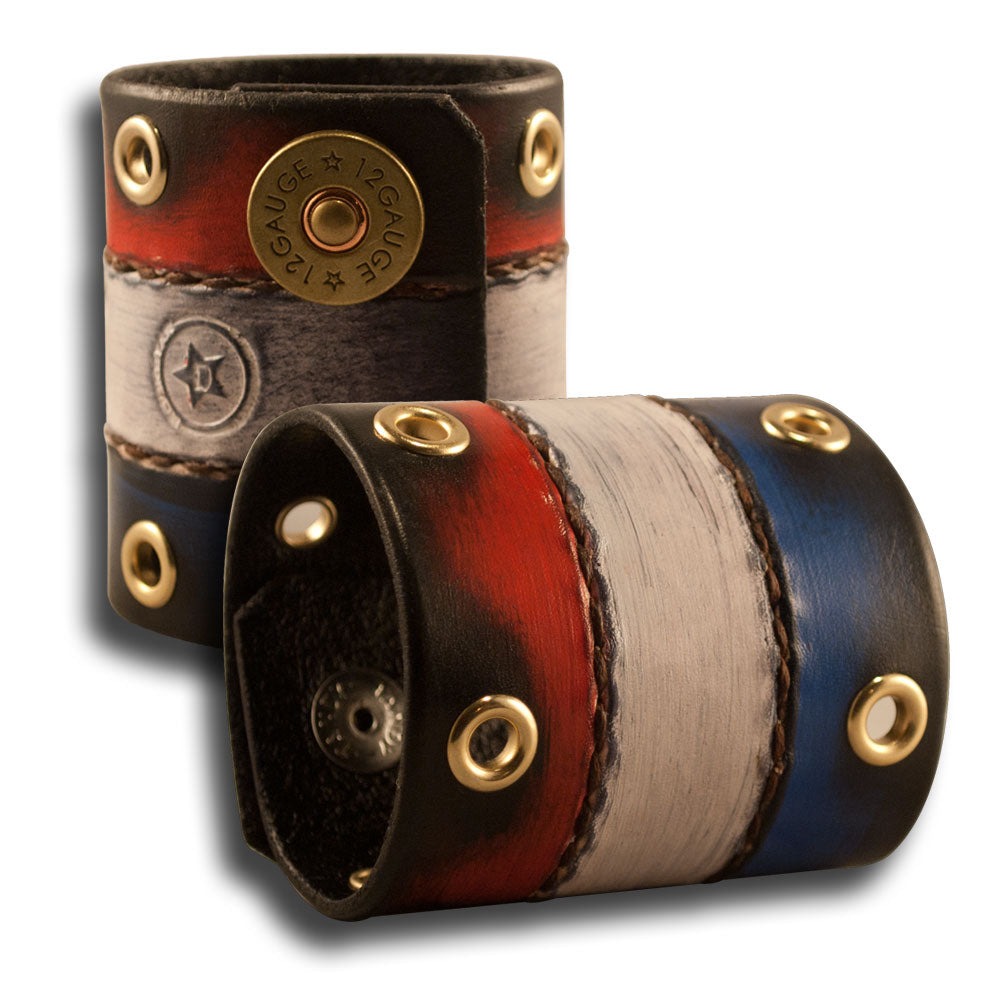Red, White & Blue Leather Cuff w/ Shotgun Shell Snaps & Eyelets-Leather Cuffs & Wristbands-Rockstar Leatherworks™