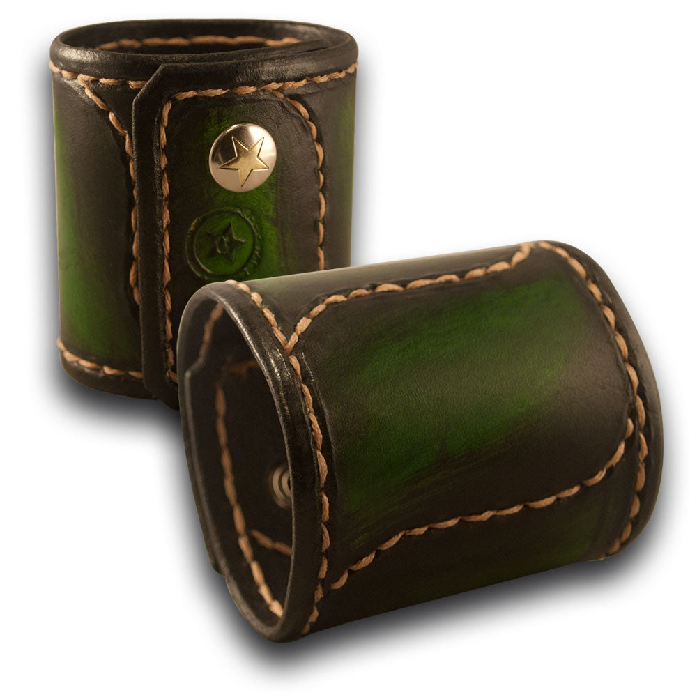 Green Stressed Leather Cuff Wristband with Stitching & Snaps-Leather Cuffs & Wristbands-Rockstar Leatherworks™