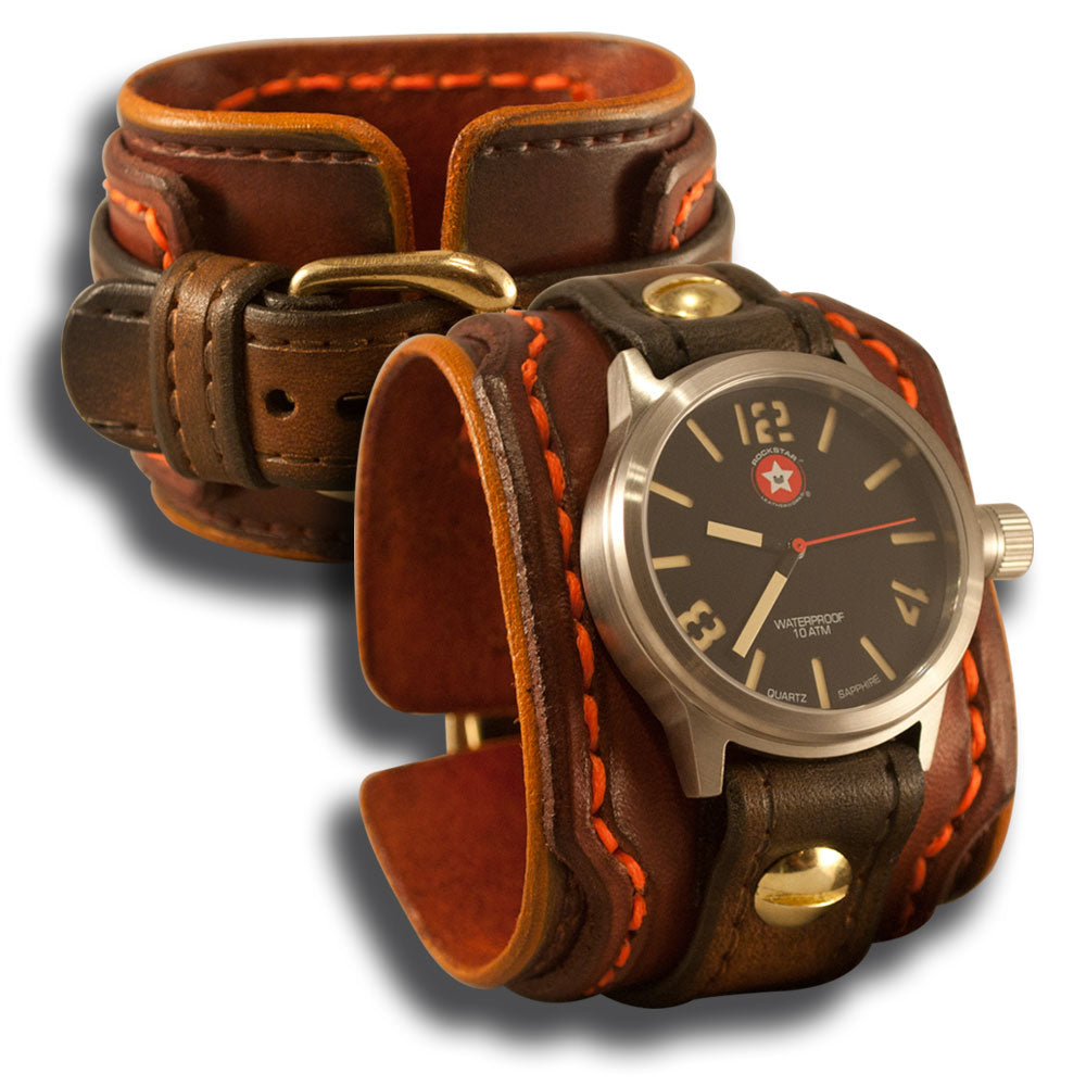 Mahogany & Brown Drake Cuff Watch - Stainless 42mm Sapphire-Leather Cuff Watches-Rockstar Leatherworks™