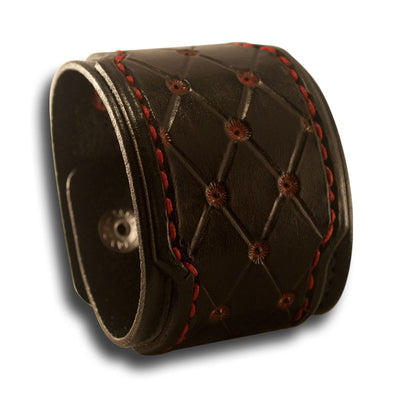 Black Drake Cuff with Rose, Skull Snaps & Red Stitching-Leather Cuffs & Wristbands-Rockstar Leatherworks™