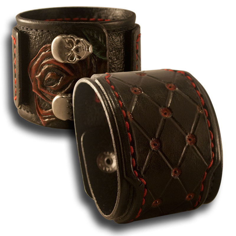Black Drake Cuff with Rose, Skull Snaps & Red Stitching