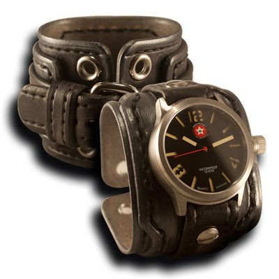 Slate Drake Leather Cuff Watch w/ Stainless 42mm Sapphire, 10ATM-Leather Cuff Watches-Rockstar Leatherworks™