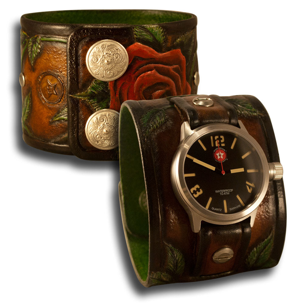 Brown Leather Cuff Watch Rose & Vines with Snaps & 42mm Watch