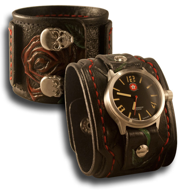 Black Drake Cuff Watch with Rose, Skull Snaps & 42mm Watch-Leather Cuff Watches-Rockstar Leatherworks™