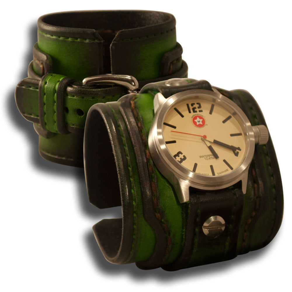 Green Stressed Drake Leather Cuff Watch Stainless 42mm Sapphire-Leather Cuff Watches-Rockstar Leatherworks™