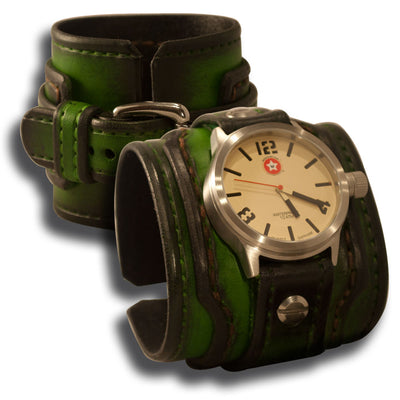 Green Stressed Drake Leather Cuff Watch Stainless 42mm, Sapphire, 10ATM