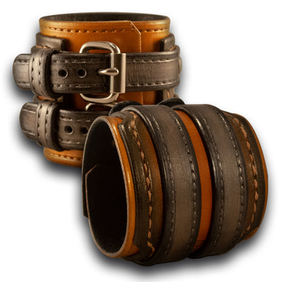 Gold & Silver Drake Layered Leather Double Strap Double Buckle Cuff-Leather Cuffs & Wristbands-Rockstar Leatherworks™