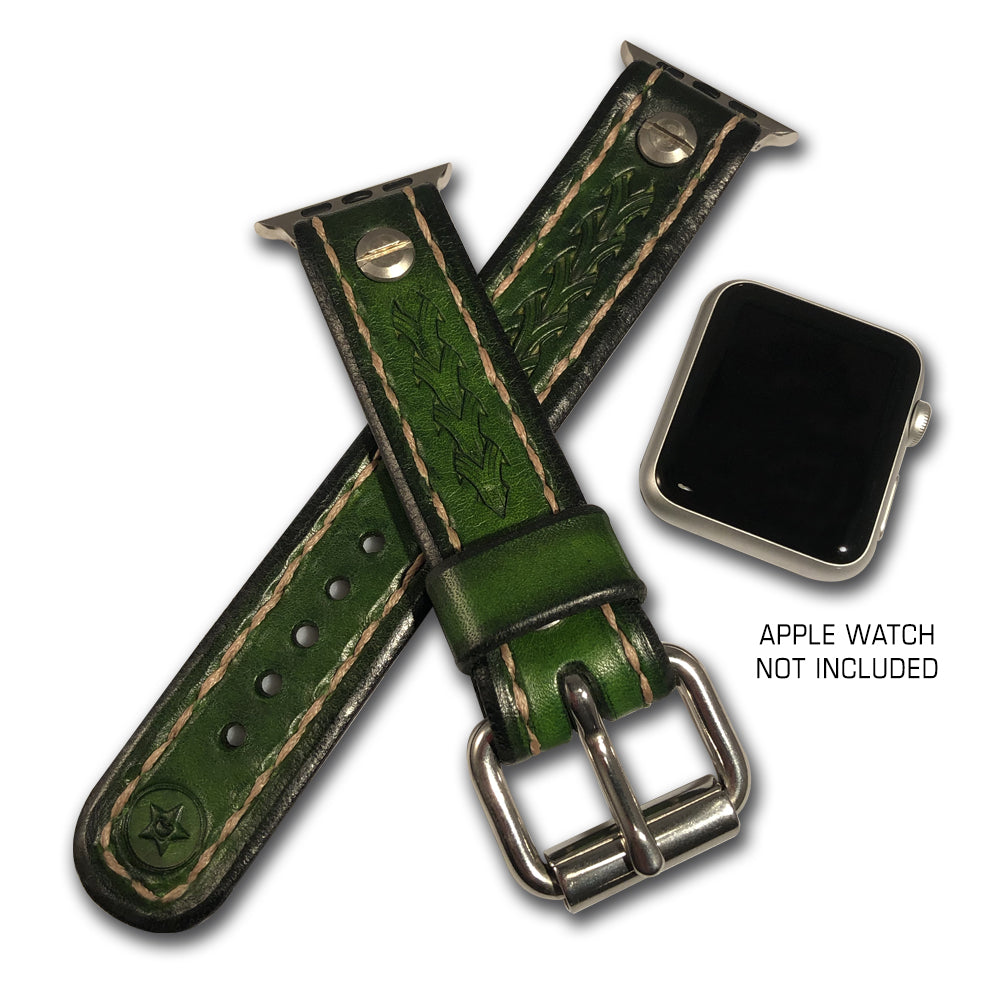 Green Stressed Apple iWatch Straps with Stainless Hardware-Custom Handmade Leather Watch Bands-Rockstar Leatherworks™