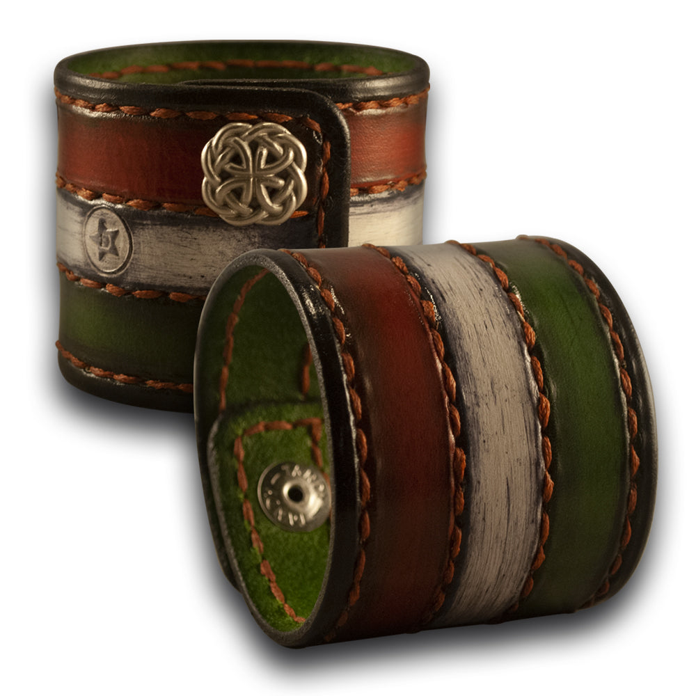 Irish Themed Leather Cuff Wristband with Rust Stitching