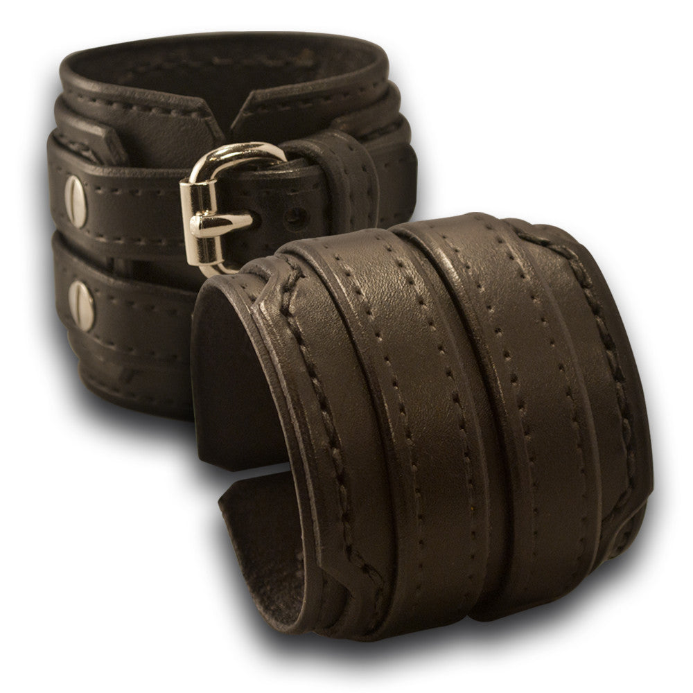 Black Drake Double Strap Leather Cuff Wristband with Buckles