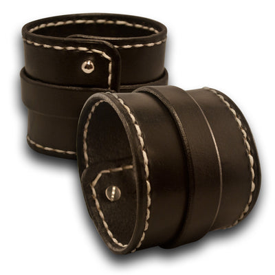 Black Double Strap Leather Cuff Wristband with Studs & Stitching-Leather Cuffs & Wristbands-Rockstar Leatherworks™