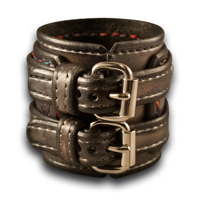 Silver Drake Leather Double Buckle Double Strap Cuff Wristband-Leather Cuffs & Wristbands-Rockstar Leatherworks™