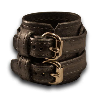 Silver & Black Drake Leather Double Strap Cuff Wristband-Leather Cuffs & Wristbands-Rockstar Leatherworks™