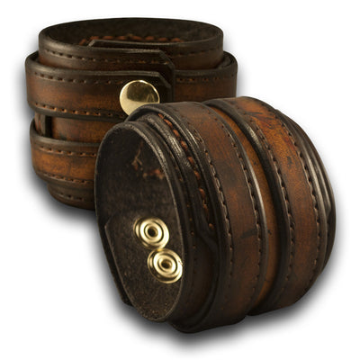 Leather Double Strap Cuff Wristband with Layered & Stitched Cuff-Leather Cuffs & Wristbands-Rockstar Leatherworks™