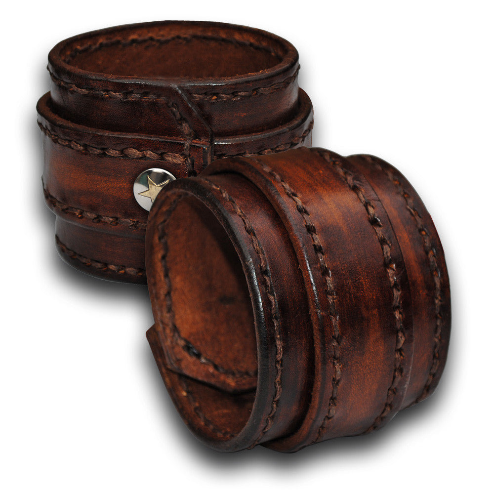 Timber Brown Stressed Double Strap Leather Wristband with Snap-Leather Cuffs & Wristbands-Rockstar Leatherworks™