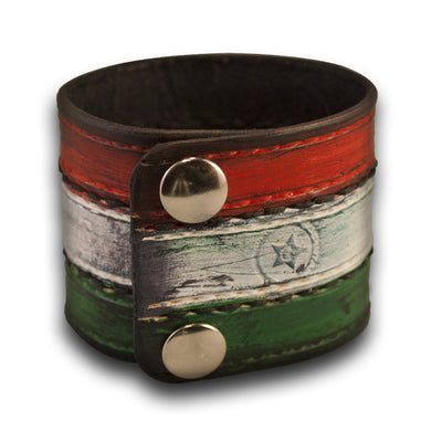 Italian Flag Leather Cuff Wristband with Stitching & Snaps-Leather Cuffs & Wristbands-Rockstar Leatherworks™