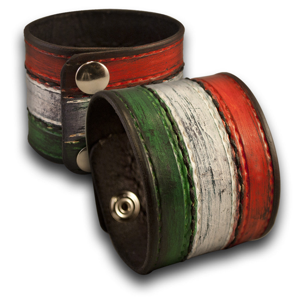 Italian Flag Leather Cuff Wristband with Stitching & Snaps