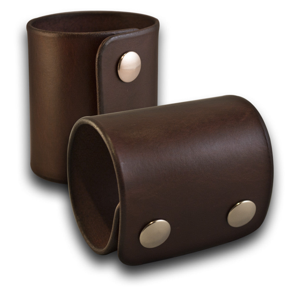Wide Dark Mahogany Leather Cuff Wristband w/ Stainless Snaps