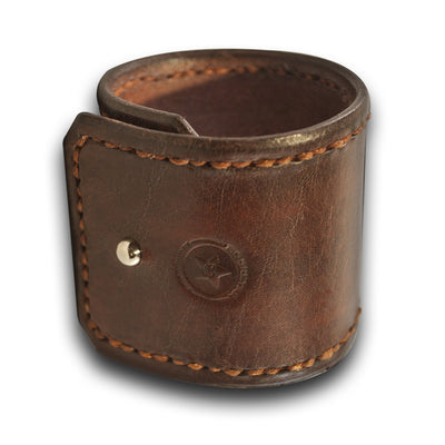 Mahogany Leather Cuff with Rust Hand Stitching & Stud