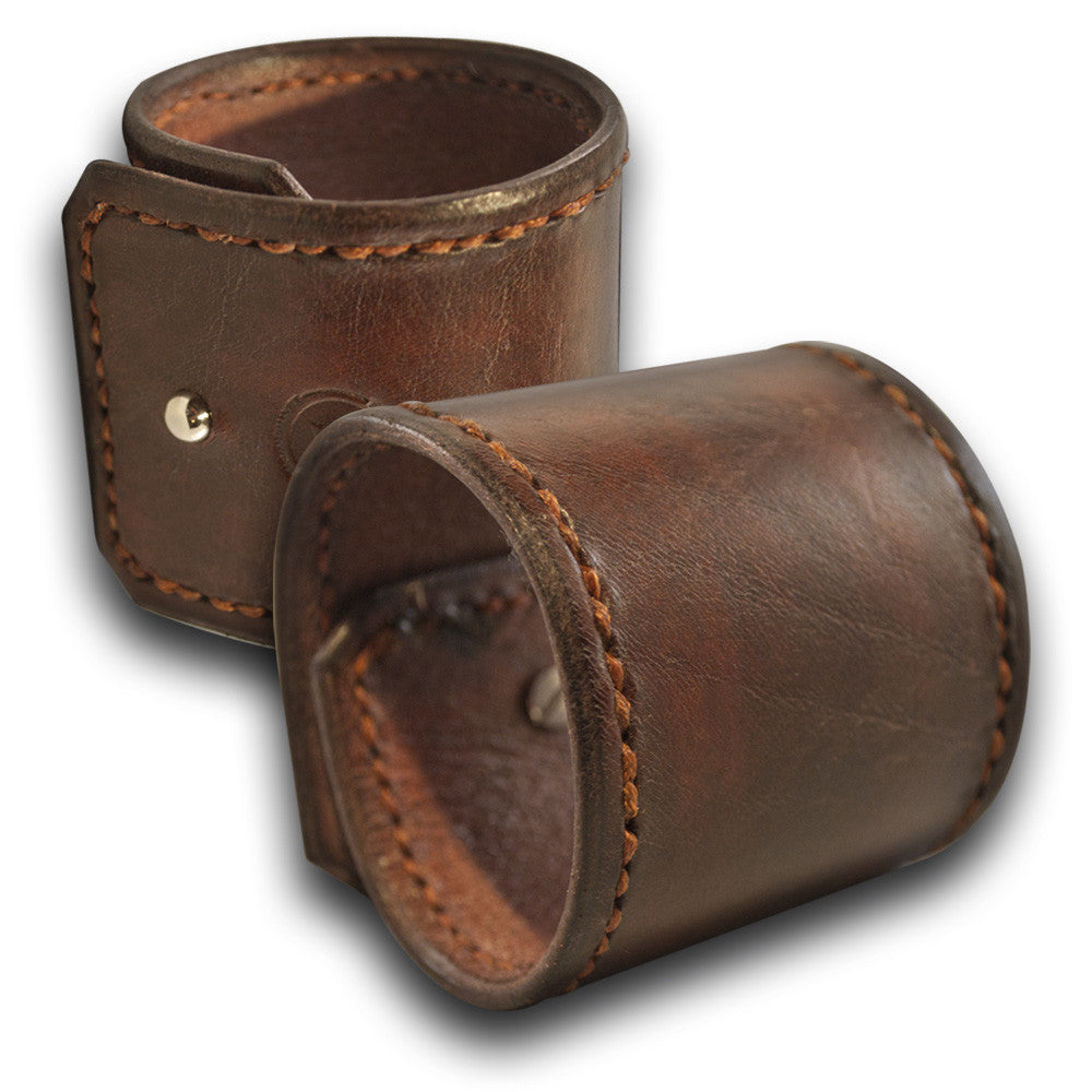 Mahogany Leather Cuff with Rust Hand Stitching & Stud-Leather Cuffs & Wristbands-Rockstar Leatherworks™