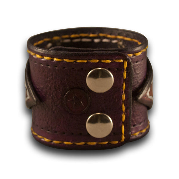 Purple & Yellow Leather Cuff Wristband with Purple Inlay & Snaps