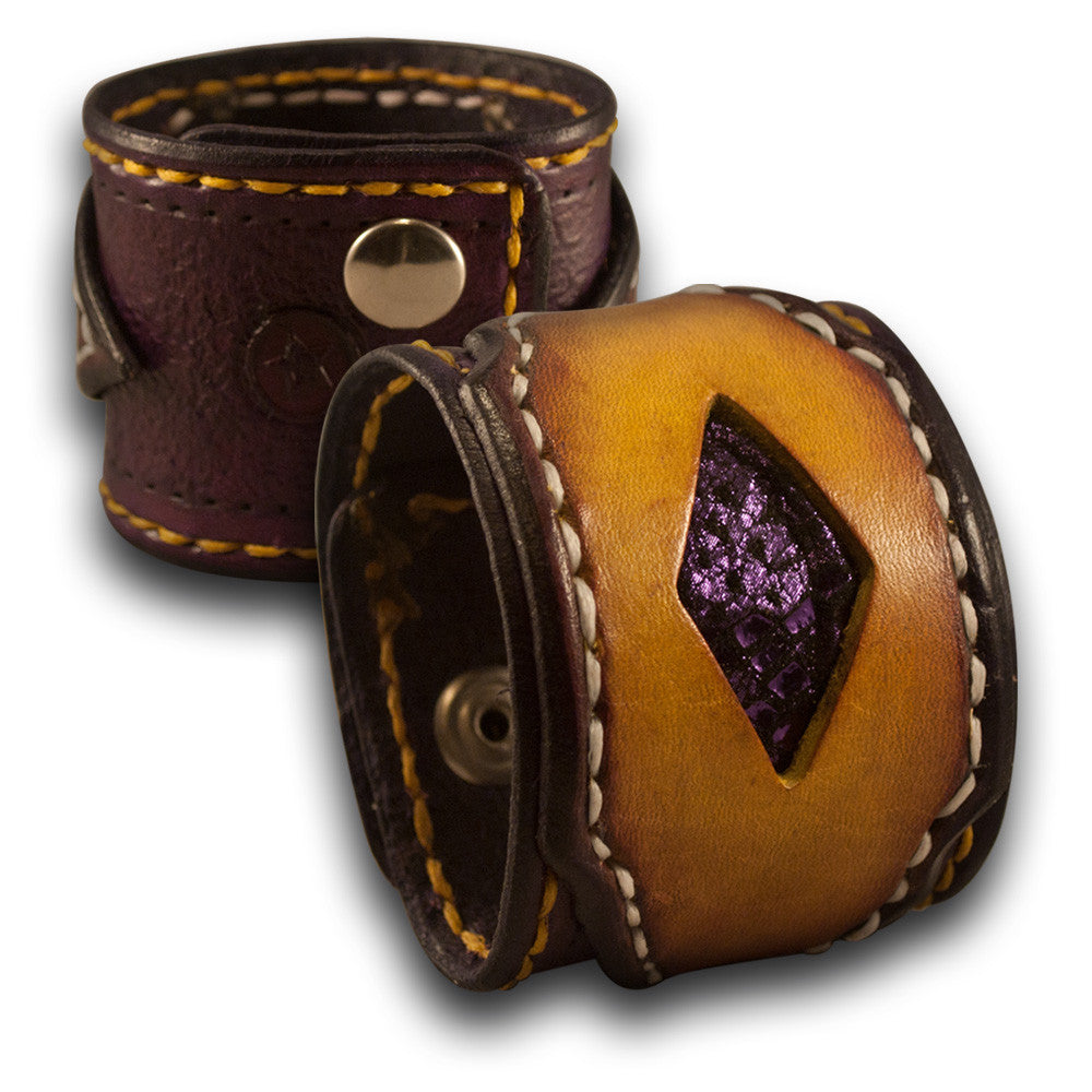 Purple & Yellow Leather Cuff Wristband w/ Purple Inlay & Snaps