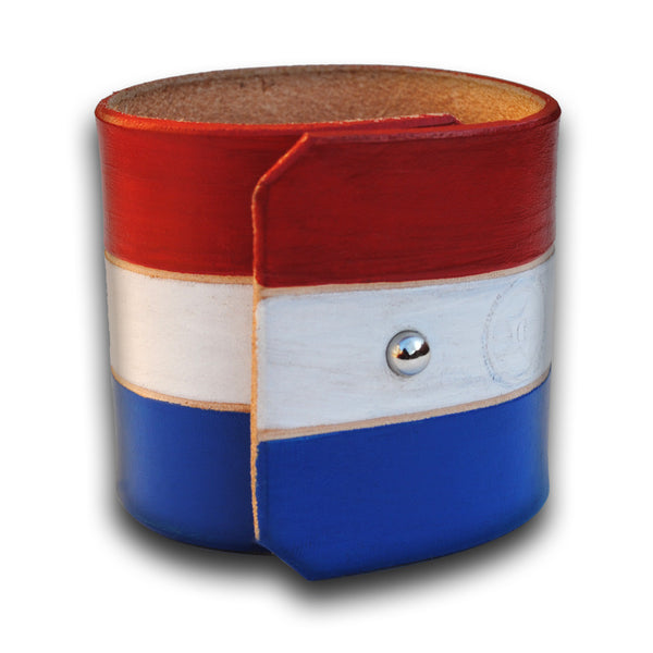 U.S.A. -  Red, White & Blue Leather Cuff Wristband