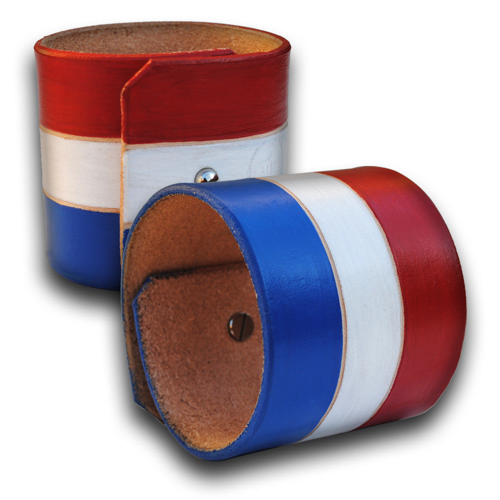 U.S.A. - Red, White & Blue Leather Cuff Wristband-Leather Cuffs & Wristbands-Rockstar Leatherworks™