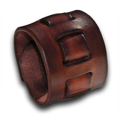 Mahogany Leather Cuff Wristband with Weaved Strap & Snap-Leather Cuffs & Wristbands-Rockstar Leatherworks™