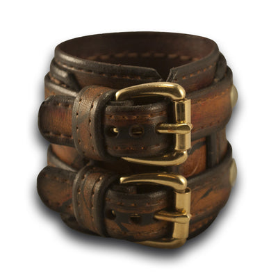 Leather Double Strap Cuff Drake Wristband with Double Buckles-Leather Cuffs & Wristbands-Rockstar Leatherworks™