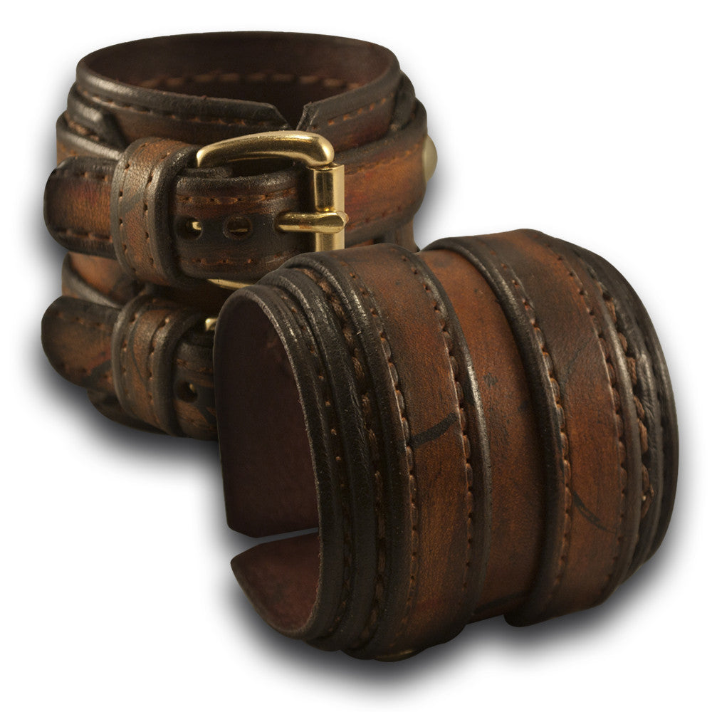 Leather Double Strap Cuff Drake Wristband with Double Buckles