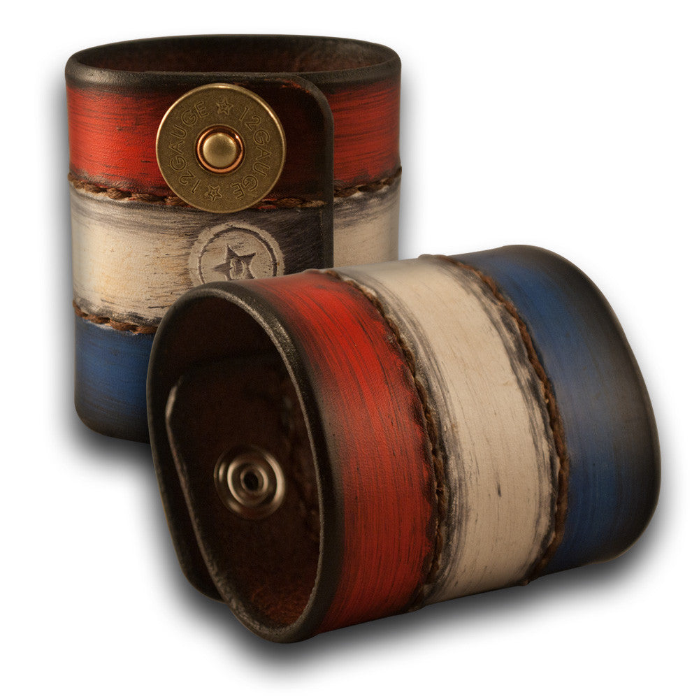 Red, White & Blue Leather Cuff Wristband w/ Shotgun Shell Snaps-Leather Cuffs & Wristbands-Rockstar Leatherworks™