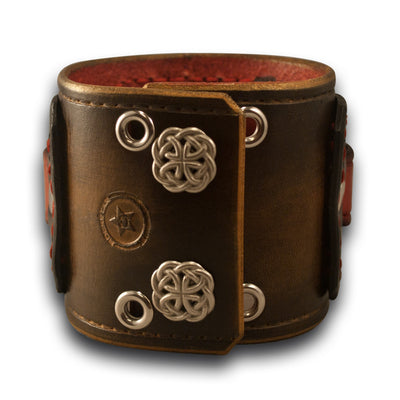 Bison & Black Drake Leather Cuff Watch Band with Eyelets & Snaps-Custom Handmade Leather Watch Bands-Rockstar Leatherworks™