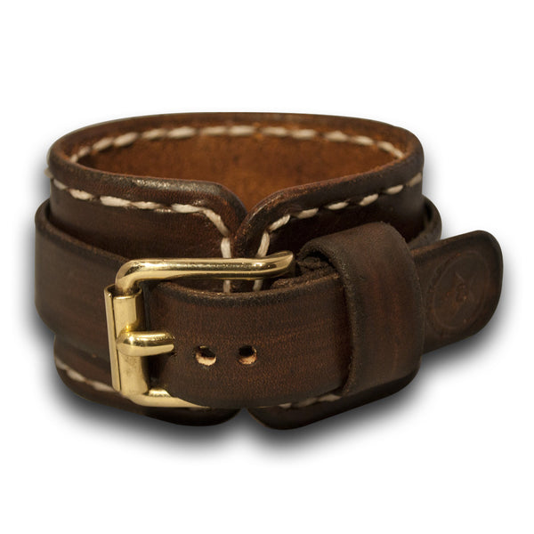 Bison Brown Leather Cuff Watch Band with White Stitching