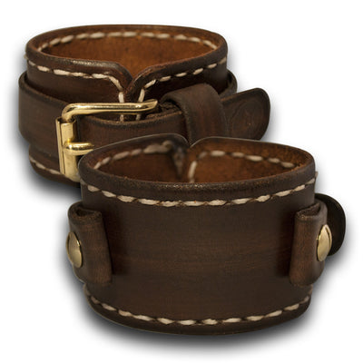 Bison Brown Leather Cuff Watch Band with White Stitching-Custom Handmade Leather Watch Bands-Rockstar Leatherworks™
