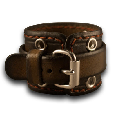Bison Brown Stressed Cuff Watch Band with Eyelets & Stitching-Custom Handmade Leather Watch Bands-Rockstar Leatherworks™