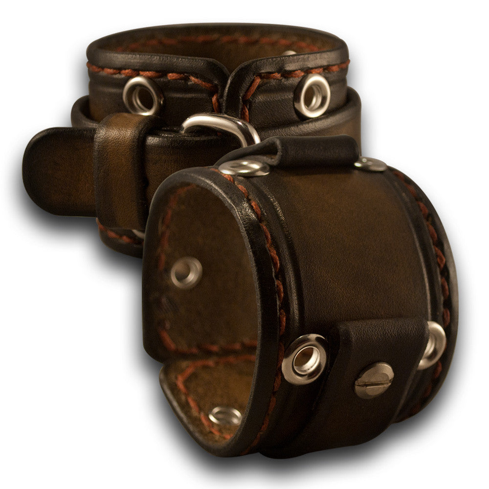 Bison Brown Stressed Cuff Watch Band with Eyelets & Stitching
