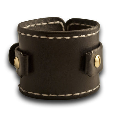 Black Wide Leather Cuff Watch Band with White Stitching-Custom Handmade Leather Watch Bands-Rockstar Leatherworks™