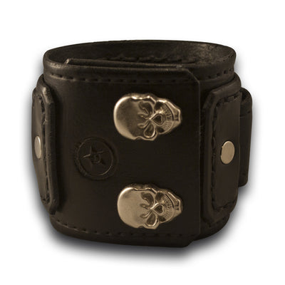 Black Rockstar Drake Layered Leather Cuff Watch Band with Skull Snaps