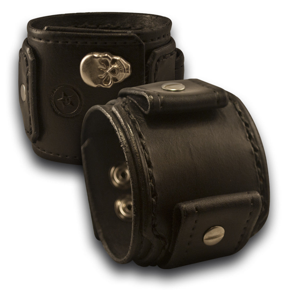 Black Drake Layered Leather Cuff Watch Band with Skull Snaps-Custom Handmade Leather Watch Bands-Rockstar Leatherworks™