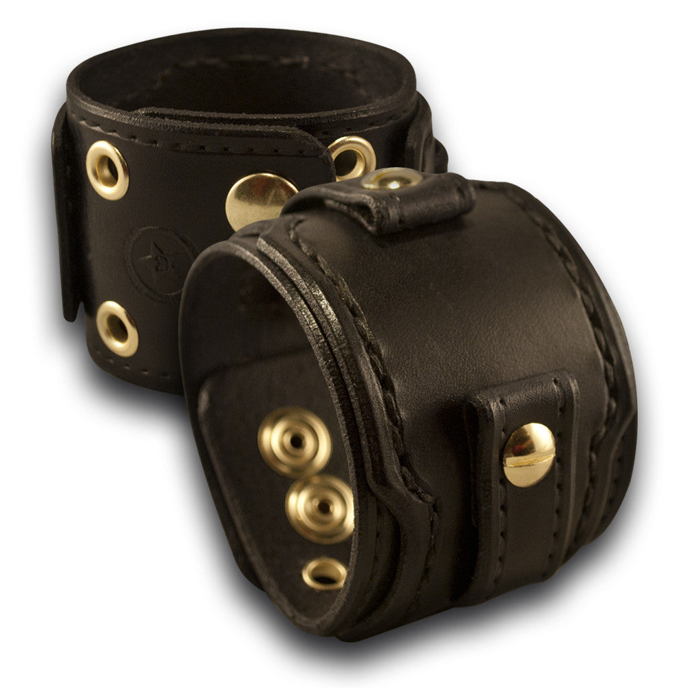 Black Drake Layered Leather Cuff Watch Band w/ Eyelets & Snaps