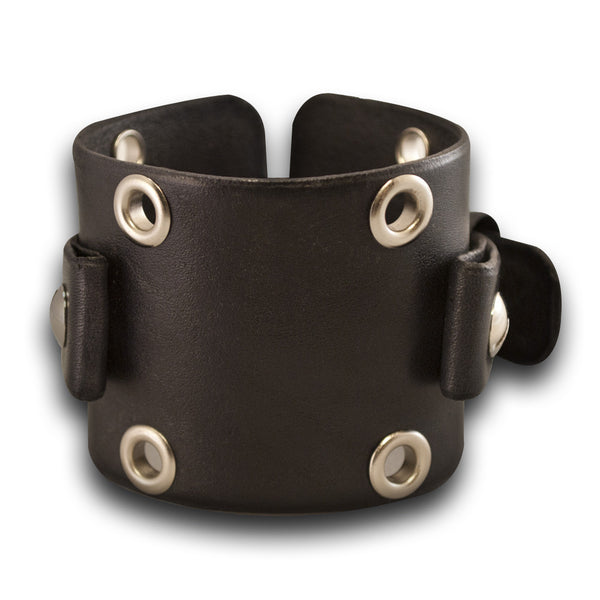 Wide Black Leather Cuff Watch Band with Eyelets & Stainless Buckle