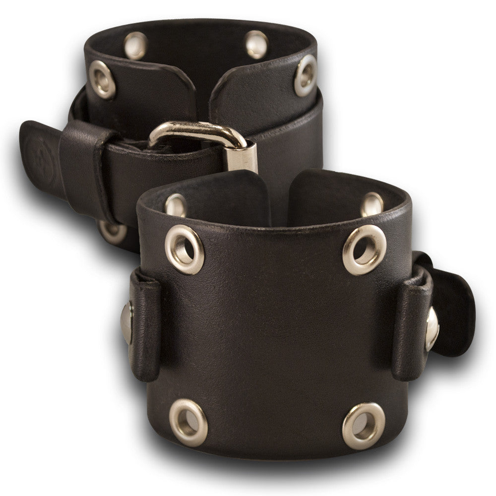 Wide Black Leather Cuff Watch Band w/ Eyelets & Stainless Buckle-Custom Handmade Leather Watch Bands-Rockstar Leatherworks™