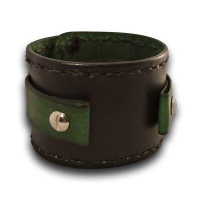 Black & Green Leather Cuff Watch Band w/ Stitching & Celtic Snap-Custom Handmade Leather Watch Bands-Rockstar Leatherworks™
