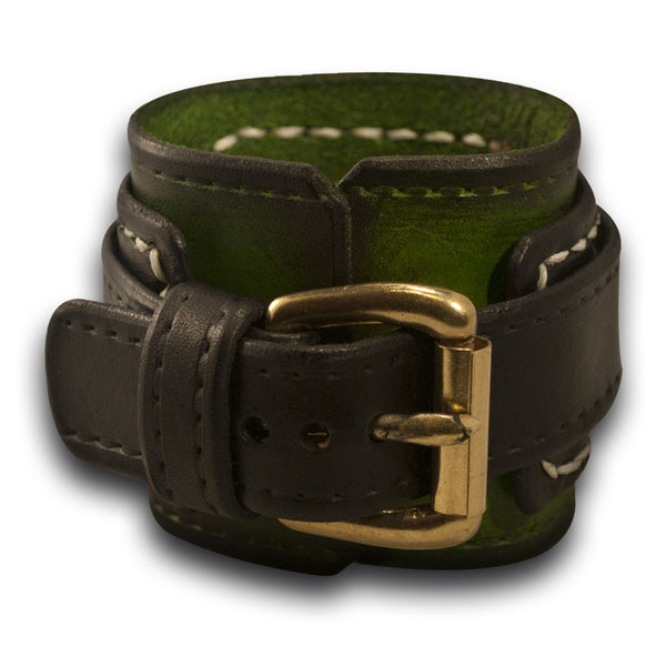 Green and Black Layered Drake Leather Cuff Watch Band with Stitching