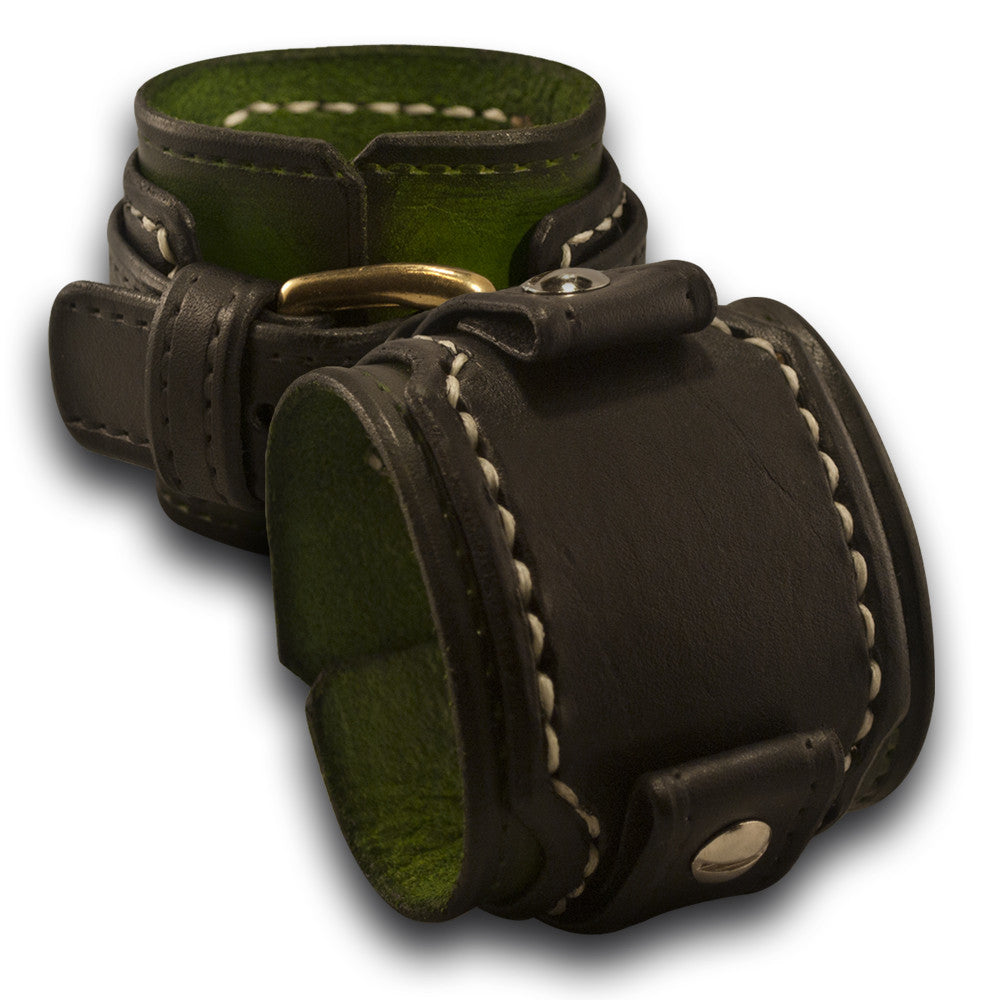 Green & Black Layered Drake Leather Cuff Watch Band w/ Stitching-Custom Handmade Leather Watch Bands-Rockstar Leatherworks™
