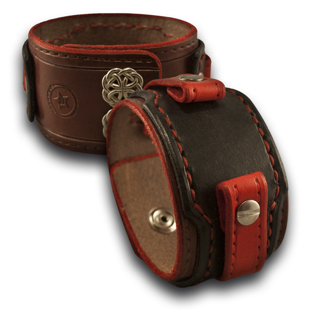 Black, Red, Mahogany Drake Leather Cuff Watch Band with Snaps